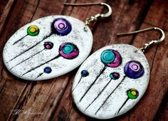 Handmade earrings. Fair Masters - handmade earrings unusual large white flower…