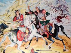 Gordafarid and Sohrab, painintg based on a story from Iranian book of epic poetry Shahnameh Ferdowsi