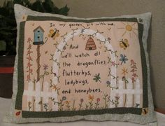 Colored/ Hand Embroidered Garden scene Pillow with verse https://www.etsy.com/listing/228578184/cottage-chic-garden-pillow-colored-and?ref=shop_home_active_1