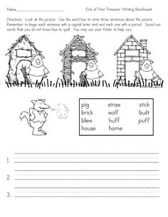 Three Little Pigs sentence writing -- could be used after reading the story