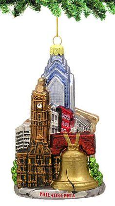 Glass Noble Gems:  Philadelphia Christmas Ornament