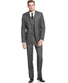 Lauren Ralph Lauren Charcoal Vested Slim-Fit Suit - Suits & Suit Separates - Men - Macy's