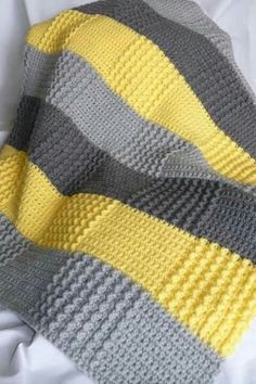 Crochet Gray Yellow Blanket (Double crochet and sedge stitch? I love the colors and textures: Crochet Gray Yellow Baby Blanket Phillips-Barton Newnham love the patchwork effect of color changes + stitch texture changes without having to piece everything t Afghan Patterns, Crochet Blanket Patterns, Baby Blanket Crochet, Crochet Stitches, Crochet Baby, Double Crochet, Knit Crochet, Knitting Patterns, Free Crochet