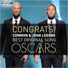 Congratulations to Common and John Legend - very well deserved win!  Such a great performance and powerful acceptance speech. So raw with emotion and truth about discrimination right now in the USA.  Selma is now!! #VanessaVerduga #Oscars2015 #Glory #Selma