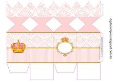 "Kit Personalizado Tema ""Coroa Rosa Menina"" para Imprimir - Convites Digitais…"