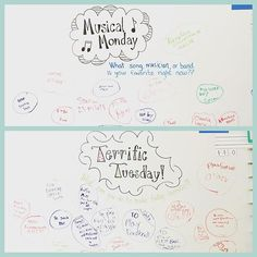 Musical Monday and Terrific Tuesday! ✏️ Only 3 days left! #iteach4th #miss5thswhiteboard