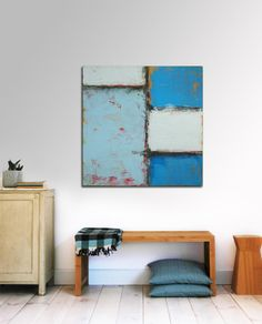 Blue Blocked Blue Right Original Abstract by RonaldHunter, $339.00