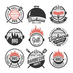 Barbecue and grill labels set. BBQ emblems and badges collection. Vector illustration - Buy this stock vector and explore similar vectors at Adobe Stock Bbq Menu, Barbecue Restaurant, Restaurant Menu Design, Logo Restaurant, Food Menu, Pub Design, Food Logo Design, Logo Food, Identity Design
