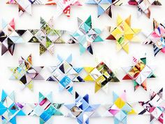 How to weave paper stars made from recycled old magazines- This would look awesome on a Christmas tree