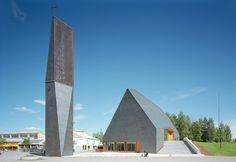 The commission for the Kuokkala Church was won through a 2006 competition to design a building which expresses the continuum of church architecture and, thro. Sacred Architecture, Religious Architecture, Church Architecture, Contemporary Architecture, Architecture Design, French Cathedrals, Architecture Religieuse, Gros Morne, Modern Church