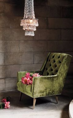 Slub Velvet Booker Armchair and cool chandelier.