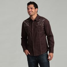 @Overstock - This stylish brown shirt from Pop Icon features a 100-percent cotton construction detailed with tan contrast stitching and elegant embroidery. Long sleeves with button closures and two buttoned pockets complete this woven, point-collared shirt.http://www.overstock.com/Clothing-Shoes/Pop-Icon-Mens-Brown-Embroidered-Shirt/6700240/product.html?CID=214117 $31.89
