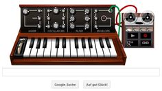Google Doodle of tomorrow about robert bob moog. inventor of synthesizer.