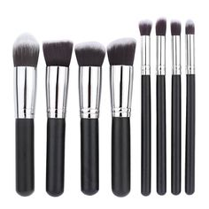 Makeup Brush Set Premium Kabuki Cosmetic Brushes Set Tools Cosmetics Eyeshadow Foundation Blending Blush Eyeliner Face Powder Kit&Applicators-Professional Grade&Tested Synthetic Bristles 8Pcs. Premium Synthetic Hair-Softer ,Denser and Silkier than stiff animal hair. No Shedding Hair and Not hurt your smooth skin. 100% non-porous bristles-Perfectly apply powder, cream and liquid products. Hand made with solid wood handle and mental ferrule. Complete Function-Foundation, Blending, Blush...