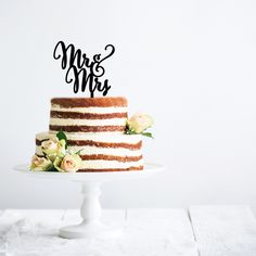 Mr and Mrs Cake Topper - Pink Poppy Party Shoppe