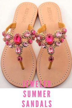 121a89649313 brown soled sandals with pink jewels
