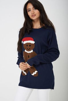 Womens Longline Novelty Christmas Jumper Gingerbread Santa Navy UK 10 12 14 NEW Novelty Christmas Jumpers, Xmas Jumpers, Long A Line, Christmas Shopping, Cardigans For Women, New Outfits, Being Ugly, Christmas Cookies, Pullover Sweaters