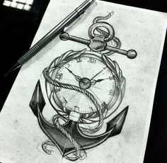 Anchor with a pocket watch & add some flowers too around it.