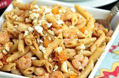 Almond, Shrimp and Feta Pasta Salad #healthypasta