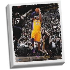 """Steiner Sports Los Angeles Lakers Kobe Bryant Fadeaway Jump Shot 22"""" x 26"""" Stretched Canvas, Multicolor"""