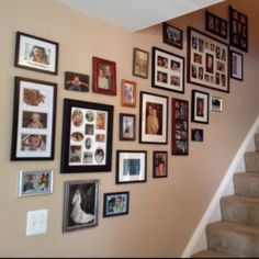 My sisters awesome staircase picture arrangement...LOVE IT!!!