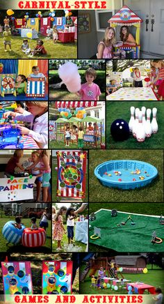 carnival party who doesn't love carnivals? for summer. Circus Carnival Party, Kids Carnival, Circus Theme Party, School Carnival, Carnival Birthday Parties, Carnival Themes, Circus Birthday, Girl Birthday Party Themes, Kids Birthday Party Ideas