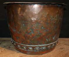 19th C riveted copper bucket. 1890
