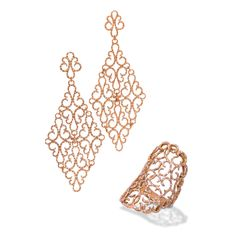 Whimsical filigree earrings and a saddle shaped ring sprinkled with diamonds in 18K rose gold from the De Boulle Collection.