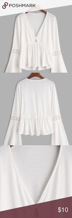 V Neck Peplum blouse White v neck peplum bell sleeve blouse Tops Blouses