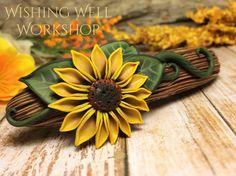 Polymer Clay Sunflower Barrette-Wishing Well Workshop