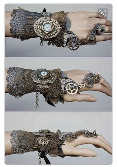 Inspired Steampunk for her. Photo: Spiked gears cuff by pinkabsinthe on Etsy. A beautifully curvilinear Steampunk design that is improbably fantastic. Moda Steampunk, Steampunk Kunst, Viktorianischer Steampunk, Design Steampunk, Steampunk Wedding, Steampunk Fashion, Gothic Fashion, Steampunk Gloves, Emo Fashion