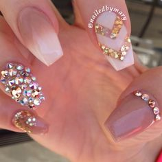 Nude white Swarovski crystals coffin nails