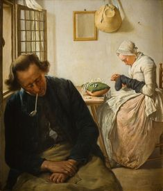Wybrand Hendriks: Interior with Sleeping Man and Woman Darning Socks (after 1800)