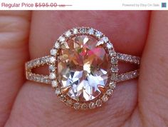 SALE 20 OFF... Morganite Engagement Ring with by JuliaBJewelry, $476.00