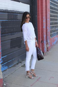 All white - Tommy Bahama Eyelet top, M.Gemi sandals, Givenchy bag