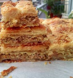 Greek Pastries, Filo Pastry, Greek Recipes, Lasagna, Sandwiches, Pie, Meat, Ethnic Recipes, Food