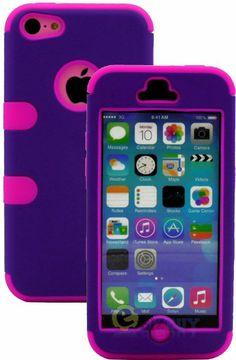 Amazon.com: myLife (TM) Hot Pink + Plum Purple Flat Color Style 3 Layer (Hybrid Flex Gel) Grip Case for New Apple iPhone 5C Touch Phone (Ext...