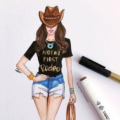 fashion illustration for Houston Rodeo by Fashion illustrator Rongrong DeVoe