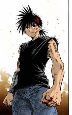 Recca Hanabishi, Flame of Recca. Not the best picture of him but it wouldn't take much to cosplay. Me Me Me Anime, Anime Guys, Manga Anime, Anime Art, Flame Of Recca, God Of War Series, Small Movie, Cool Pictures, Disney Characters
