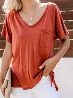 V-neck Solid Pocket T Shirts Casual T Shirts, Casual Tops, Short Sleeve Blouse, Short Sleeves, Blouses For Women, T Shirts For Women, Cotton Jacket, Cotton Tee, Shirt Outfit