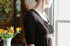 Womens Brown Dress  Ruffle Front Dress 3/4 by ellainaboutique, $72.00