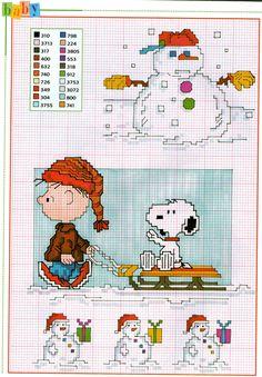 Charlie Brown pupazzi di neve slitta schemi punto croce - magiedifilo.it punto croce uncinetto schemi gratis hobby creativi