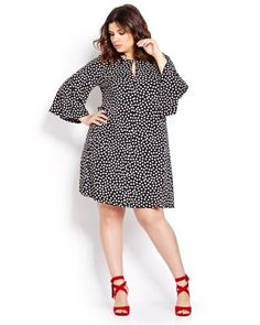 Gabby Skye Polka Dot Dress With Bell Sleeves