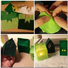 felt houses with electric votives, Irish