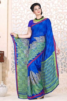 Indian Designer Blue Sarees are now in store presents by Andaaz Fashion with price $44.71. Embellished with printed work and Blue Georgette Short Sleeve Blouse. This is perfect for Party, bridal wear, festival wear, casual, ceremonial. http://www.andaazfashion.us/blue-georgette-saree-and-blue-blouse-dmv7883.html