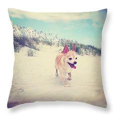 """Chihuahua Beach Patrol Throw Pillow 14"""" x 14"""""""