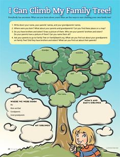 To print for Family Home Evening: I Can Climb My Family Tree – family activities Family Home Evening, Family Night, My Family, Home And Family, Youth Group Activities, Activities For Kids, History For Kids, Family History, Family Tree Worksheet
