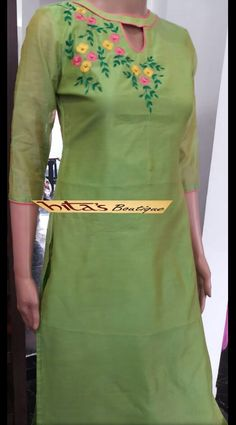 Black Raw Silk with Black Khimkhab Designer Blouse - Image 2 Salwar Neck Designs, Kurta Neck Design, Neckline Designs, Dress Neck Designs, Kurta Designs, Blouse Designs, Embroidery On Kurtis, Kurti Embroidery Design, Embroidery Neck Designs