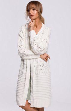 MOE Długi kardigan damski ecru M514 Dresses With Sleeves, Long Sleeve, Model, Fashion, Mathematical Model, Moda, Sleeve Dresses, Long Dress Patterns