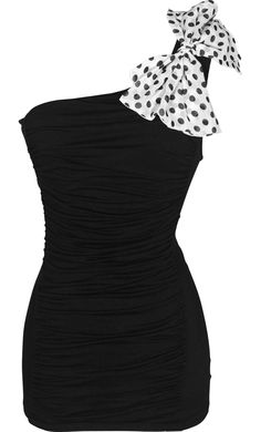 One Shoulder Ruched Top with Polkadot Bow $25.99. If I was skinny enough I would so wear this!